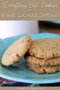 Everything But the Kitchen Sink Cookies with Walnuts, Coconut and Cornflakes