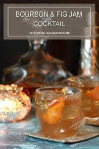Bourbon and Fig Cocktail with Orange Liqueur, Honey and Lemon in a Lowball Glass with Orange Peel