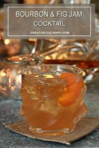 Bourbon and Fig Cocktail in a Cut Crystal Lowball Cocktail Glass