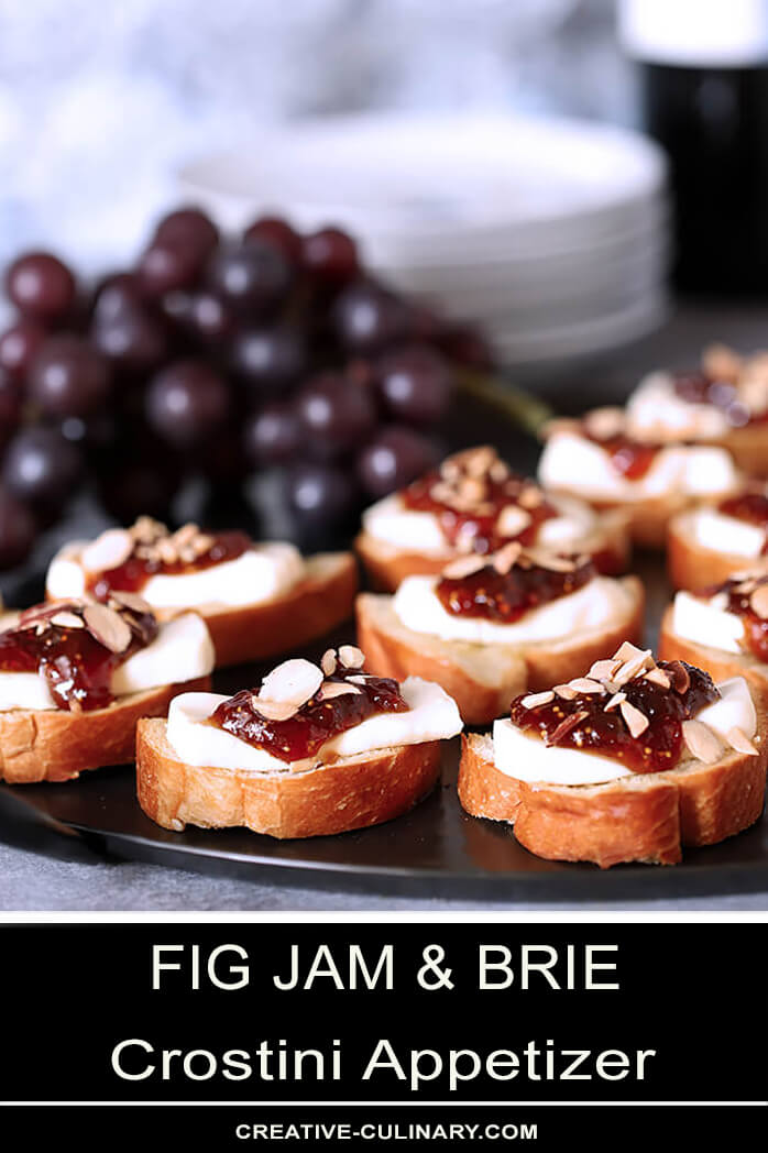 Fig Jam and Brie Crostini Appetizer on Metal Serving Plate