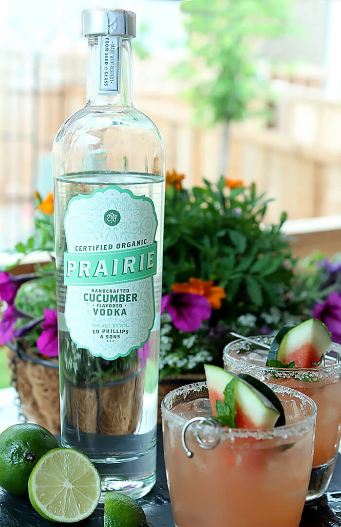 Watermelon, Cucumber, and Lime Cocktail Made with Prairie Vodka