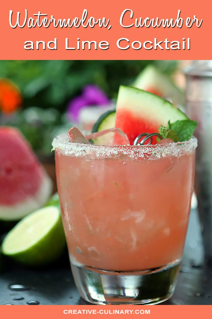 Watermelon, Cucumber, and Lime Cocktail with a Sugared Rim and Fruit Garnish