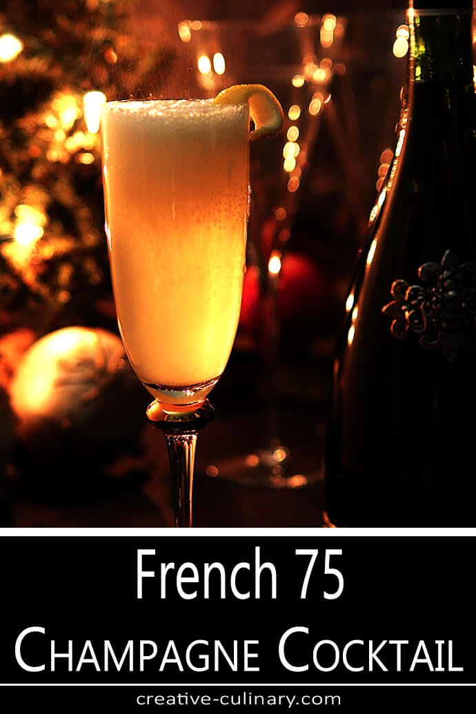 French 75 Champagne Cocktail Backlit for New Years Eve