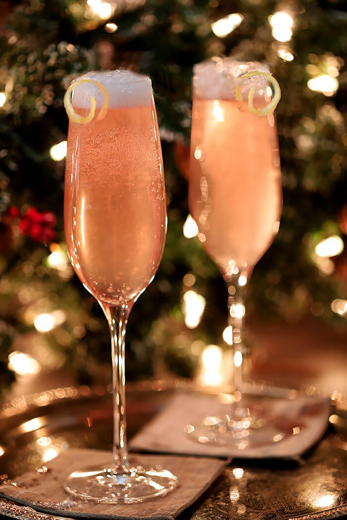 Pair of French 77 Pink Champagne Cocktails on Silver Tray