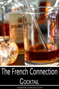 The French Connection Cocktail Mixed in a Cocktail Pitcher