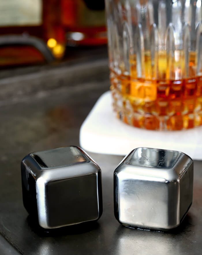 Stainless Steel Ice Cubes Used in The French Connection Cocktail