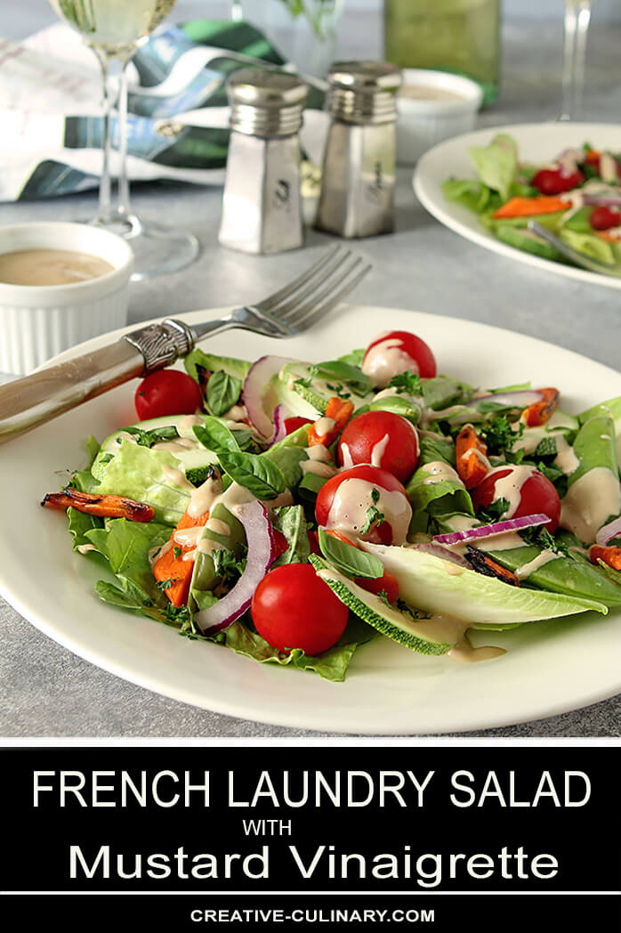 French Laundry Salad with Mustard Vinaigrette on a White Plate