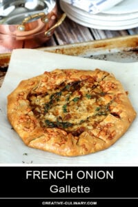 Whole French Onion Galette on a Baking Sheet