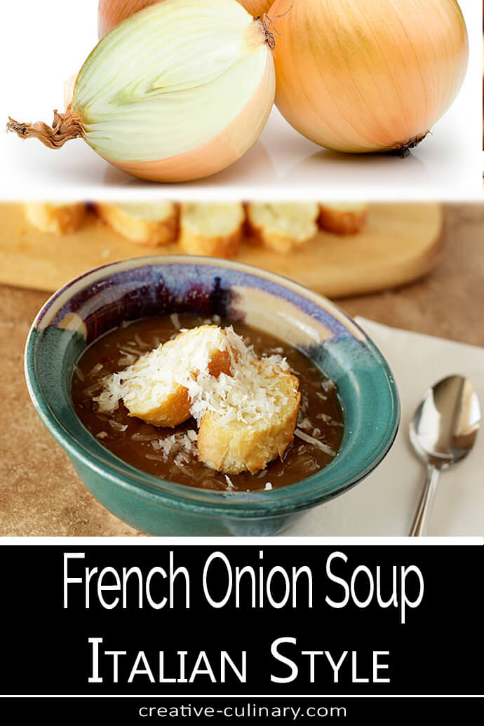 French Onion Soup - Italian Style Served in a Aqua Pottery Bowl with Bread and Parmesan Cheese on Top