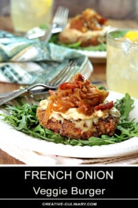 French Onion Veggie Burger with Caramelized Onions Served on Arugula