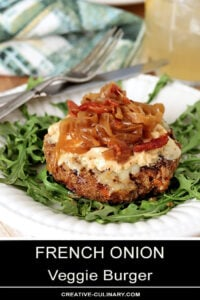 French Onion Veggie Burger with Caramelized Onions