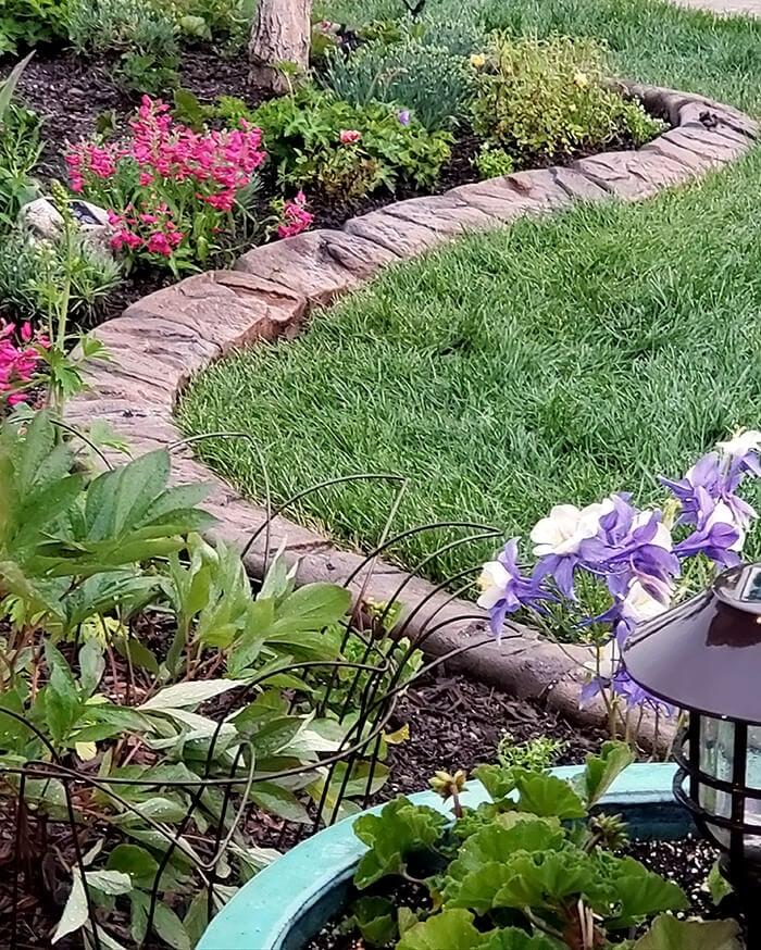 Perennial garden with stone border.