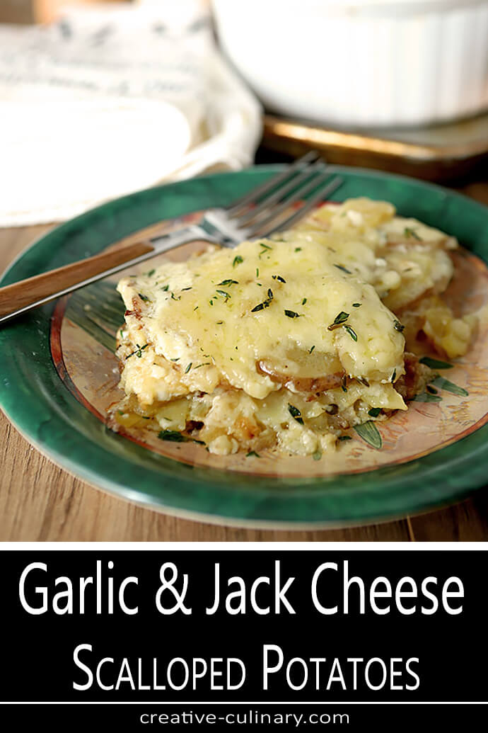 Garlic and Jack Cheese Scalloped Potatoes Served on Green Plate