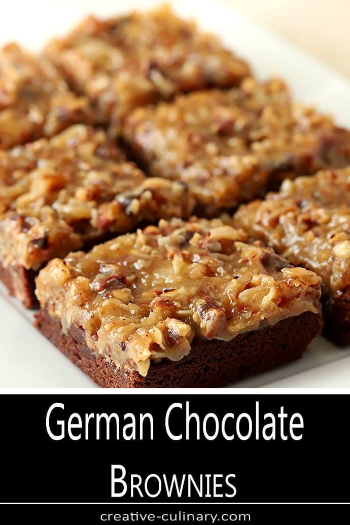 German Chocolate Brownies on a Serving Plate