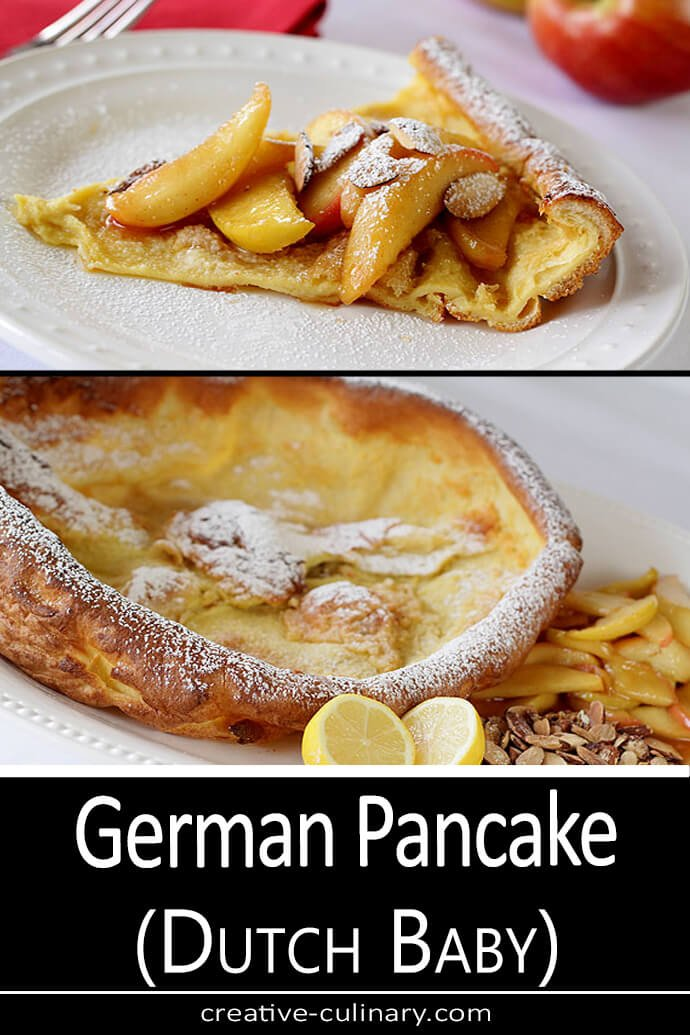 German Pancake served with a variety of toppings including lemon, almonds, and apples.