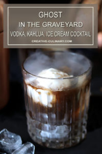 Ghost in the Graveyard Vodka & Kahlua Cocktail with Vanilla Ice Cream with Dry Ice