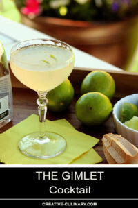 The Gimlet Cocktail Served Outdoors on a Wooden Tray