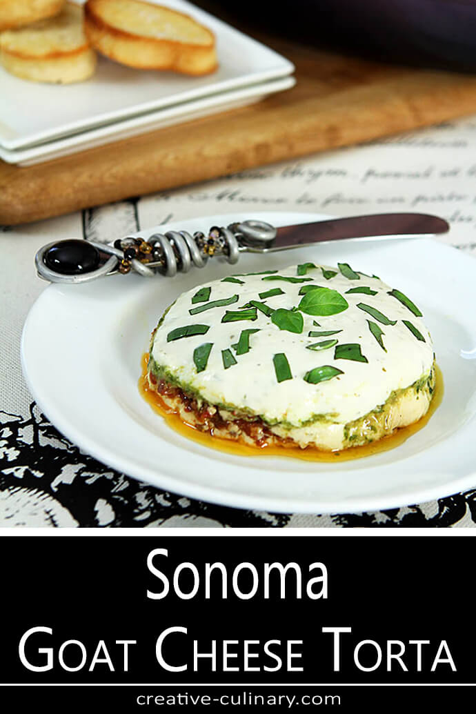 Sonoma Goat Cheese Torta Shown Stacked on a White Plate