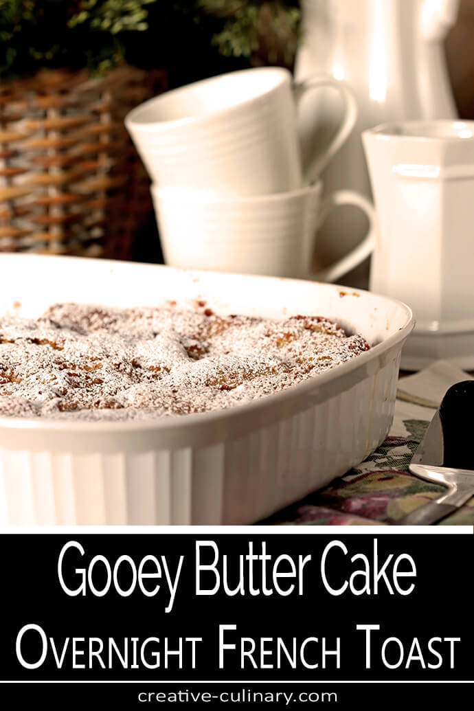 Gooey Butter Cake Overnight French Toast in a White Baking Pan