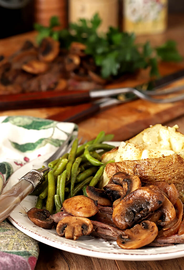 Marinated and Grilled Flank Steak with Grilled Mushrooms, Green Beans, and Baked Potato