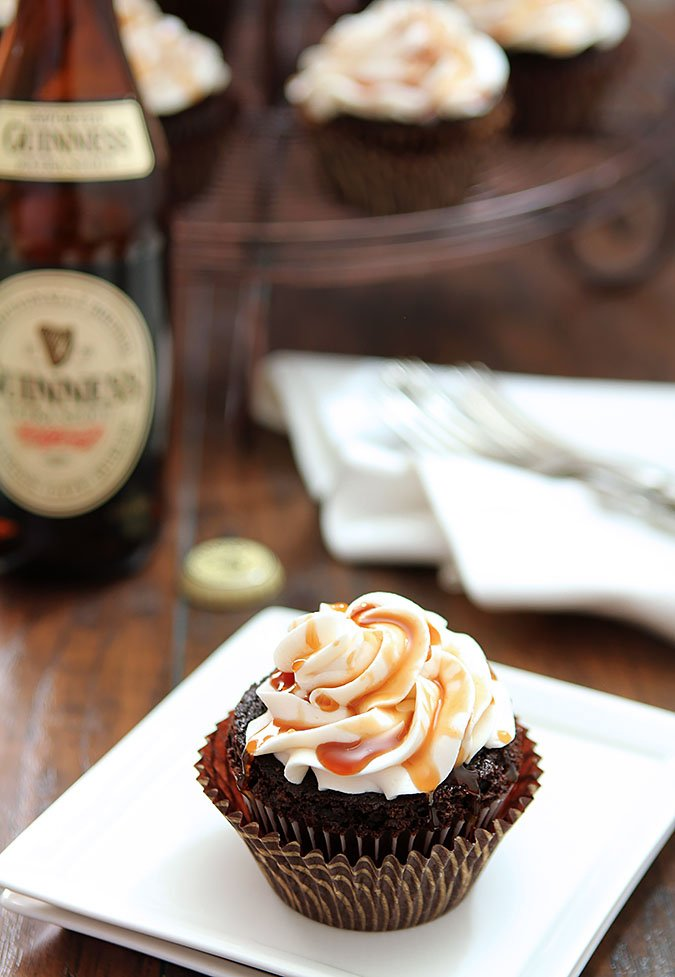 Guinness Chocolate Cupcake with Irish Cream Frosting and Drizzle
