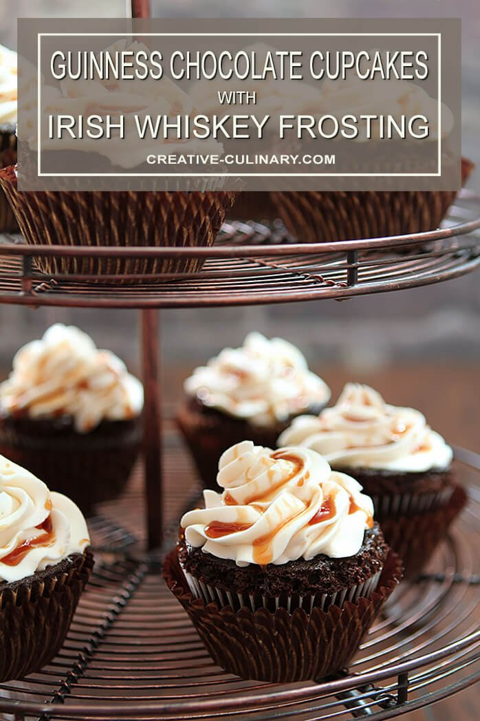 Cupcake Rack Filled with Guinness Chocolate Cupcakes with Irish Whiskey Frosting and a Bailey's Salted Caramel Drizzle