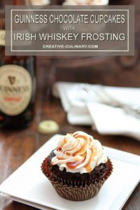 Single Serving of a Guinness Chocolate Cupcakes with Irish Whiskey Frosting and a Bailey's Salted Caramel Drizzle