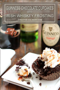 Bite Missing from Guinness Chocolate Cupcakes with Irish Whiskey Frosting and a Bailey's Salted Caramel Drizzle
