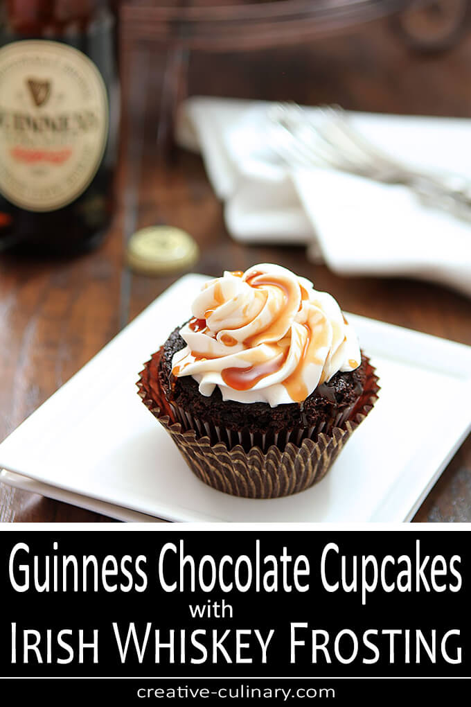 Guinness Chocolate Cupcakes with Irish Whiskey Frosting PIN