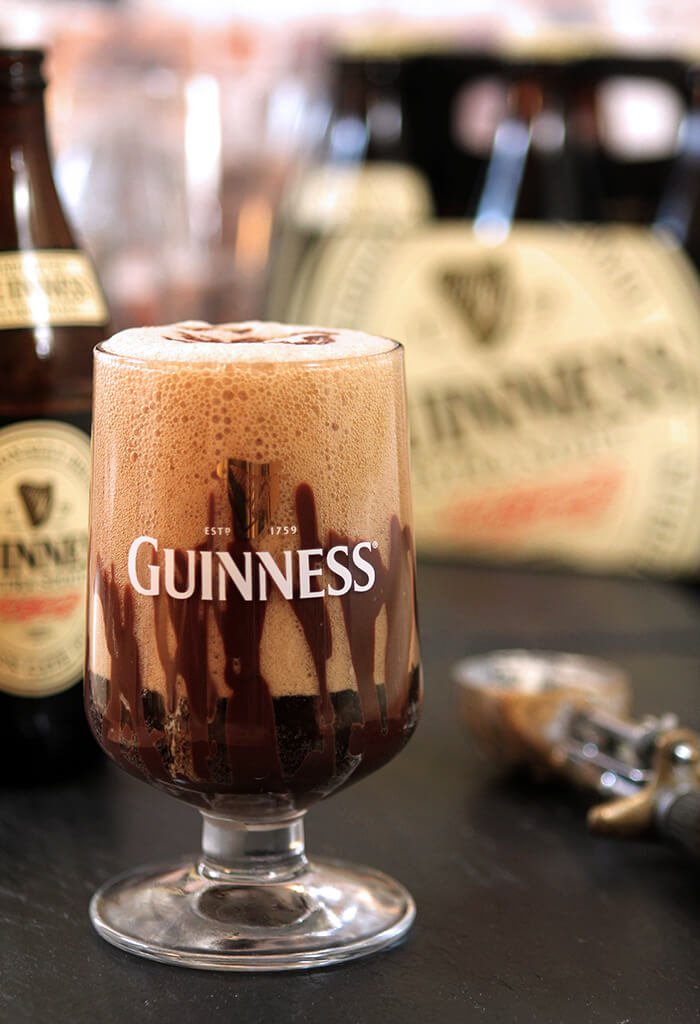 Guinness Vanilla Float with Irish Liqueur In a Guinness label glass