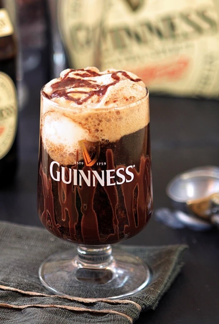 Guinness Vanilla Float with Irish Liqueur Topped with Chocolate Sauce