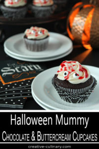 Halloween Mummy Cupcakes with Chocolate Cake and Buttercream Frosting and Red Simple Syrup