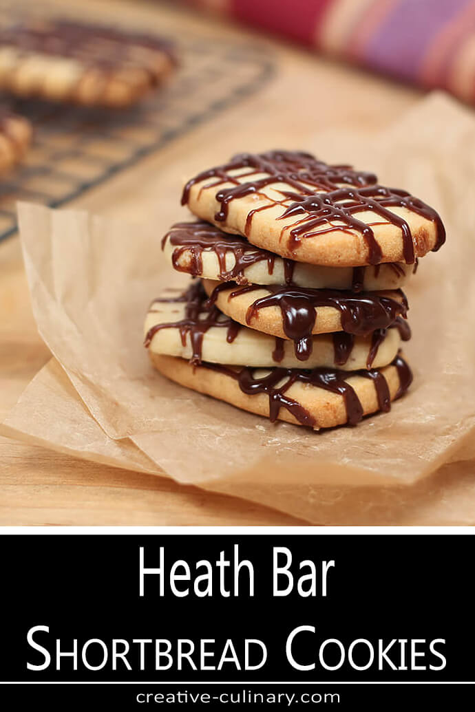 Heath Bar Shortbread Cookies in a Stack of Five.