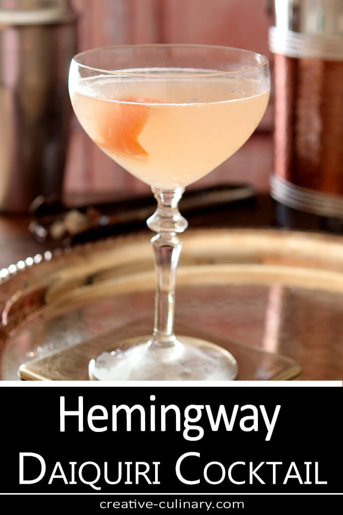 Hemingway Daiquiri Cocktail Served in a Coupe Glass with a Twist of Orange