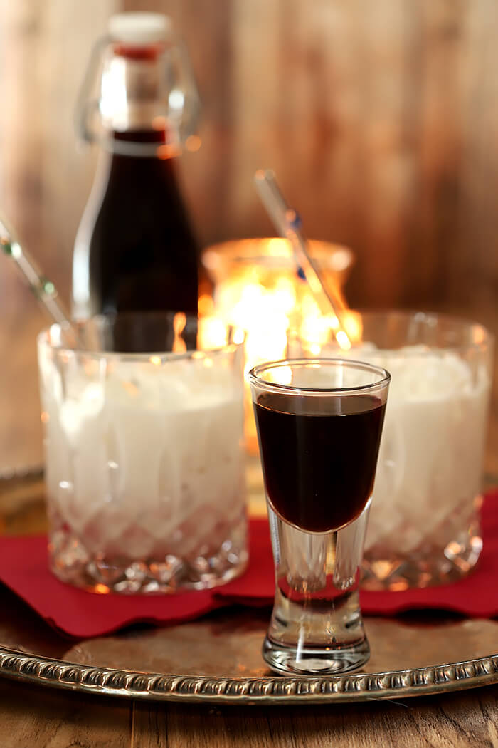 Homemade Coffee Liqueur Served as a Chilled Shot