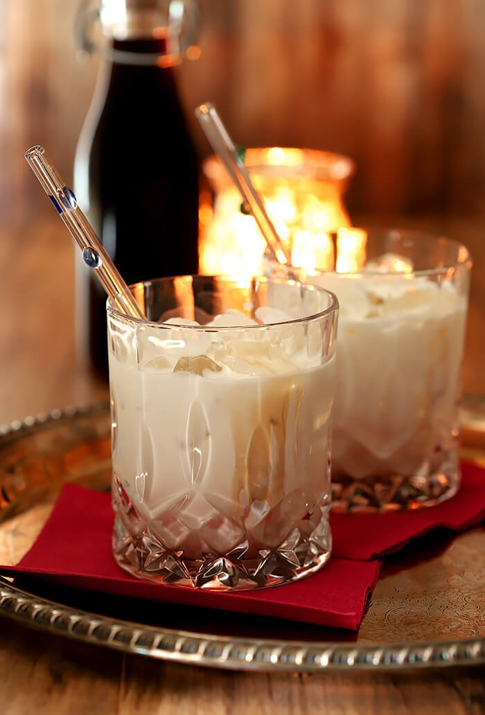 Homemade Coffee Liqueur Served as Kahlua and Cream