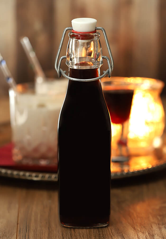 Homemade Coffee Liqueur Packaged in a Bottle for Storing