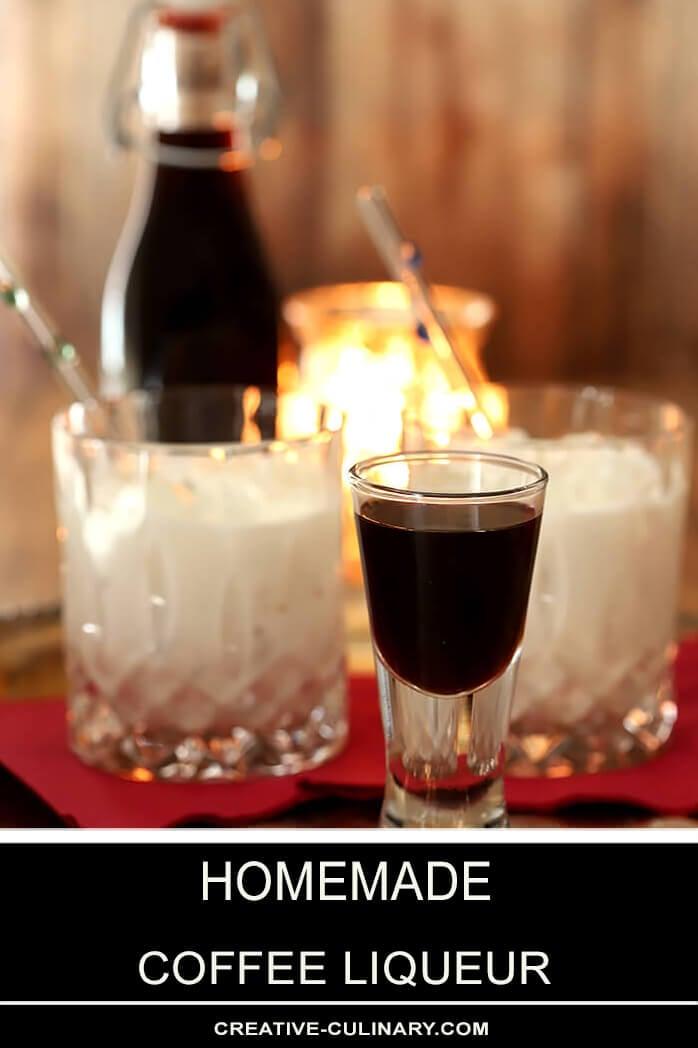 Homemade Coffee Liqueur Served in a Liqueur Glass