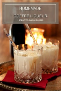 Homemade Coffee Liqueur with Cream in an Old Fashioned Glass