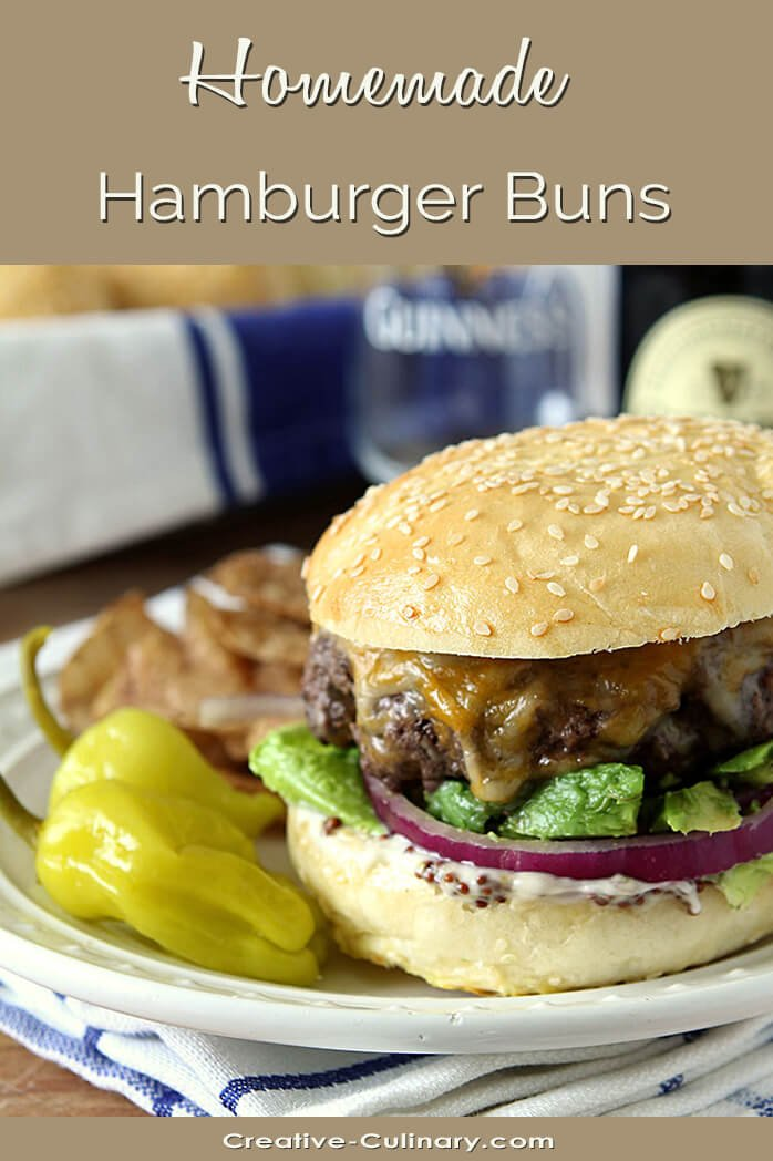 Homemade Sesame Seed Hamburger Buns on a Hamburger with Cheese and Lettuce