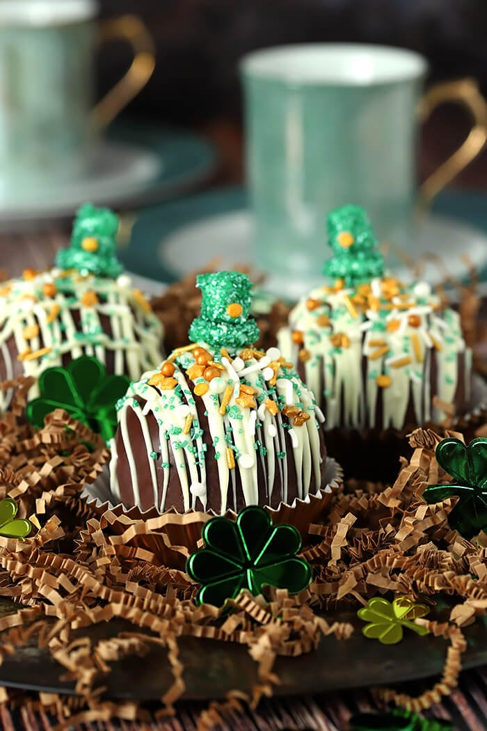 Boozy Hot Chocolate Bomb with St. Patrick's Day Decorations