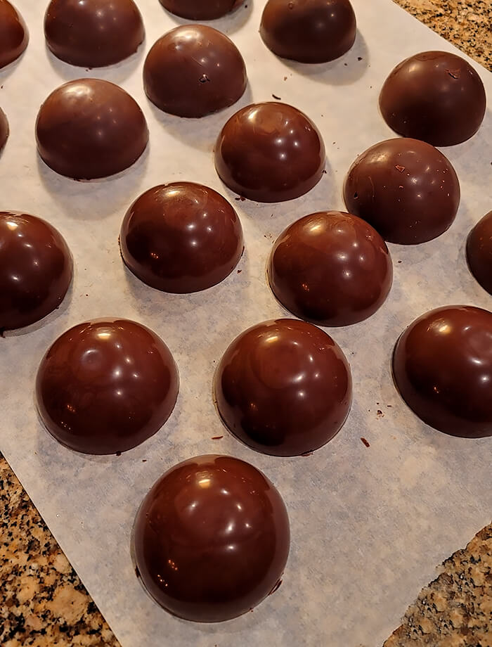 Completed half shells for Hot Chocolate Bombs