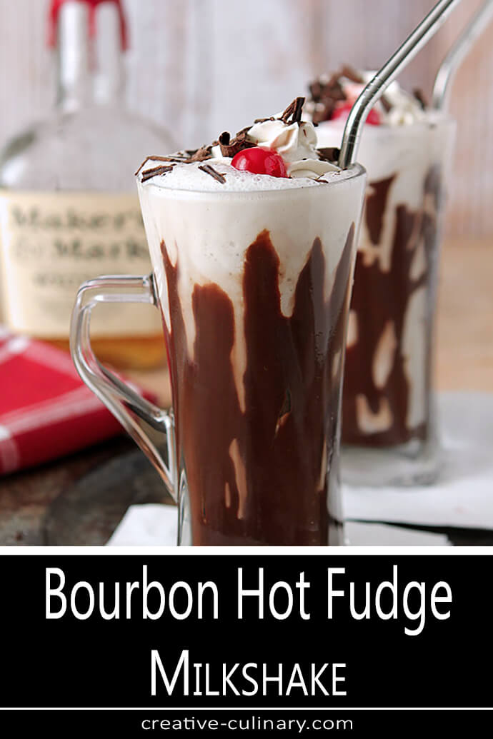 Bourbon and Hot Fudge Milkshake with Whipped Cream and a Maraschino Cherry