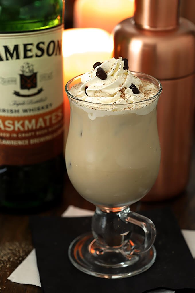 Iced Irish Coffee Cocktail in an Irish Coffee Mug