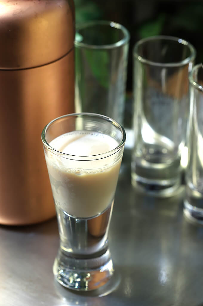 The Irish Toast - Irish Cream with Irish Whiskey Cocktail Served in a Shot Glass