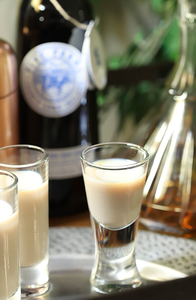 The Irish Toast - Irish Cream with Irish Whiskey Cocktail on a Serving Tray