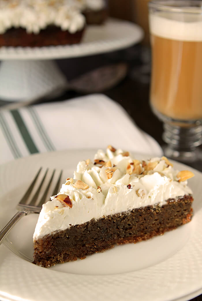 Irish Coffee Cake Dessert Slice on White Plate