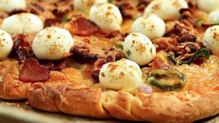 Jalapeno and Cream Cheese Pizza with Bacon and Red Onion