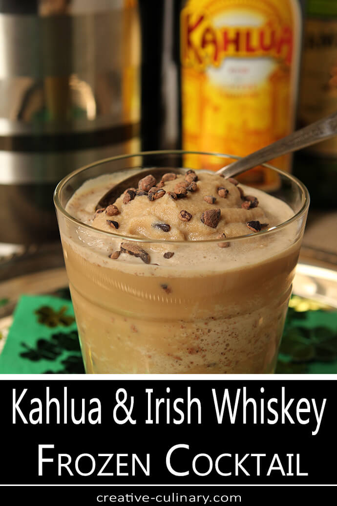 Kahlua and Irish Whiskey Frozen Cocktail Garnished with Cocoa Nibs
