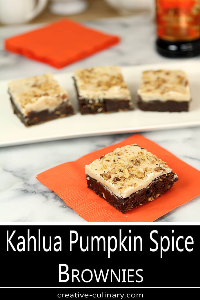 Kahlua Pumpkin Spice Brownie Slice on an Orange Napkin
